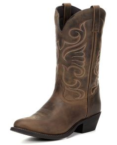 """Complete your outfit the cowgirl way and stand out wearing these gorgeously-designed women's 11"""" Bridget boots. Handcrafted in distressed tan leather, these boots feature fancy stitching designs on the uppers above lightly stitched feet. Soft linings and cushion insoles provide much comfort for long wear. Pull tabs and dip openings allow easy pulling on for a snug"""