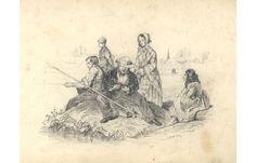 Continental 19th Century Graphite Drawing - Fishing Scene