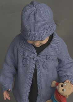 "Sweet Girls Cardigan or The Ensemble - The closure is from Nicky Epstein ""Knitting Beyond The Edge"" [filed under 'Easy Baby Cardigan'] Kids Knitting Patterns, Knitting For Kids, Baby Patterns, Free Knitting, Baby Sweaters, Girls Sweaters, Toddler Sweater, Knitted Baby Clothes, Baby Cardigan"