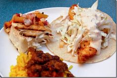 Halibut two ways: Grilled with Pineapple Salsa, and Marinated Fish Tacos with Cabbage Slaw & Chipotle Crema