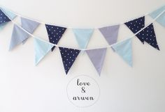 Navy bunting, party flags.  More on www.loveandarwen.etsy.com.