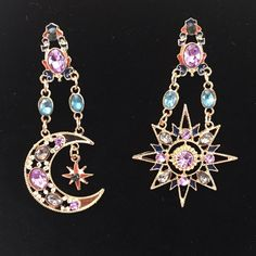 Star and Crescent Moon Jeweled Earrings Absolutely gorgeous dangling sun and star earring set Jewelry Earrings