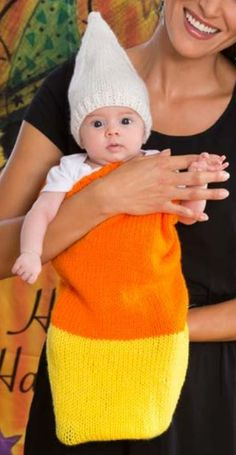 Free Knitting Pattern Candy Corn Cocoon and Cap - #ad Dress up baby trick or treaters in this easy cozy snuggle sack for Halloween