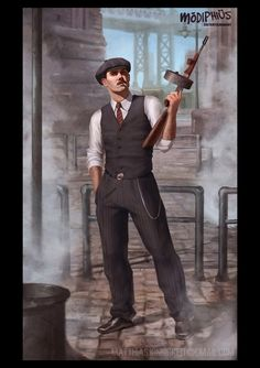 Illustration created for Modiphius Entertainment Gangster Estilo Gangster, Mafia Gangster, Mafia Party, Gangsters, Character Concept, Character Art, Game Concept, Rpg Cyberpunk, Call Of Cthulhu Rpg