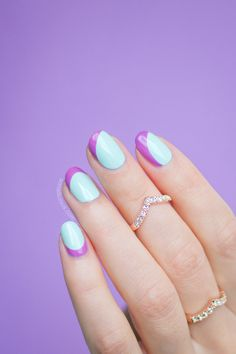 Purple and mint summer nails. Nail Art Details: http://sonailicious.com/ncla-swim-club-review-swatches/