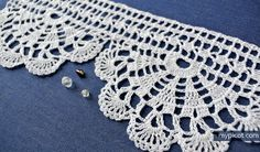 "MyPicot | Free crochet patterns - ""Homework""- wide economy lace edging╭⊰✿Teresa Restegui http://www.pinterest.com/teretegui/✿⊱╮"