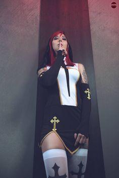 Emily by Miss-MischiefX on DeviantArt Hot Goth Girls, Gothic Girls, Hot Girls, Goth Beauty, Dark Beauty, Lilith Demon, Nun Halloween Costume, Hot Nun, Beautiful Dark Art
