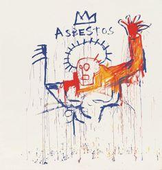 Asbestos, Acrylic on canvas Page curated by Avignon, Collection Lambert en Avignon Jean Basquiat, Jean Michel Basquiat Art, Radiant Child, Andy Warhol, Art Brut, American Artists, Art History, Pop Art, Graffiti