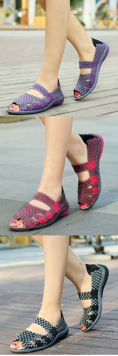 US$19.20 Handmade Knitting Hollow Out Breathable Peep Toe Slip On Platform Shake Shoes