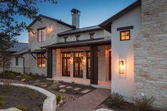 home interior design Texas Hill Country, Hill Country Homes, Texas Style Homes, Texas Homes, Country Home Exteriors, Modern Farmhouse Exterior, Craftsman Farmhouse, Farmhouse Plans, House Exteriors