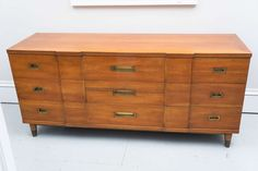 Mid-Century John Widdicomb Nine-Drawer Chest   From a unique collection of antique and modern commodes and chests of drawers at https://www.1stdibs.com/furniture/storage-case-pieces/commodes-chests-of-drawers/