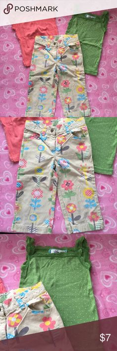 2 PIECE CAPRI & TEE SET SZ 4/5 PLAY CONDITION GIRLS FLOWERED CAPRIS (GYMBOREE, SIZE 5) & CORAL T-SHIRT (SIZE 4T, SONOMA BRAND). PLAY CONDITION. Capris have spots of faded coloring, as shown in the last photo. Price reflects condition. Capris have super cute flowers all over front & back & inner-button adjustable waistband. T-shirt is more of a coral, rather than orange. 🚫No Trades. Just looking to sell please. ⬇️GREAT discount on Bundles of 3 or more! Check out my closet for more kids…