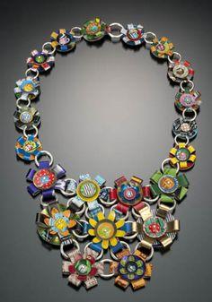 """Garden Necklace"" in tin, silver and mixed materials. 18 x 5 x 0.75"", Ellen Wieske."