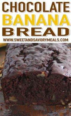 Banana Bread Chocolate Banana Bread is the best banana bread you will ever have! Incredibly tender, moist and flavorful, loaded with chocolate chips and crunchy walnuts!Chocolate Banana Bread is the best banana bread you will ever have! Chocolate Banana Bread, Best Banana Bread, Banana Bread Recipes, Chocolate Recipes, Cake Recipes, Dessert Recipes, Chocolate Chips, Chocolate Lovers, Banana Recipes Videos