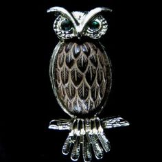 Lovely, Gold Tone Brown Enamel Green Rhinestones Owl Brooch – Unsigned