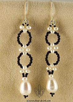Filigree black-n-white earring by Fleur-de-Irk