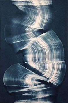 AMAZING monoprints on this page... gelatin plate print original Kristin Breiseth KB Breiseth abstract blue