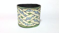 NEW  Printed Leather Cuff  Green Blue by BlueberryBirdDesigns, $26.00