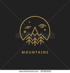 Outline vector logo of mountain - stock vector