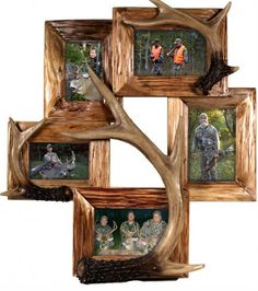 "This genuine Firwood frame features three realistic poly resin deer antlers attached to the frame. This is a great way to add an outdoor touch to five of your favorite pictures! Holds Three - 4""""x6"""""