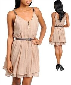 White Lotus Boutique - Beige multi- layer dress with brown leather buckle straps and belt , $34.50 (http://whitelotusboutique.net/beige-2-layer-dress/)