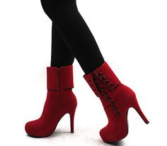 Elegant Button and High Heel Design Women's Short Boots, RED, 39 in Boots | DressLily.com
