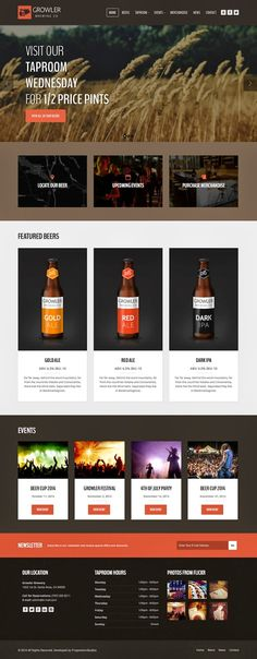 Buy Growler - Brewery WordPress Theme by ProgressionStudios on ThemeForest. Show off your work with this easy-to-customize and fully featured WordPress Theme. When purchasing this theme, you wi. Template Site, Html Templates, Online Store Builder, Web Design, Color Picker, Wordpress Theme Design, Tap Room, Site Internet, Website Themes