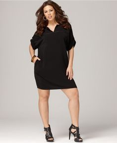 DKNYC Plus Size Dress, Short Sleeve Split Neck Shirtdress - Plus Size Dresses - Plus Sizes - Macy's