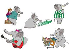 `Elephant` Photoshop Illustration These are taken from the second book for `Brilliant Publications` using this Elephant character. I had to produce so many illustrations of this elephant that it became very natural to make him do anything including play the guitar or pushing a shopping trolley! www.bretthudsonart.com