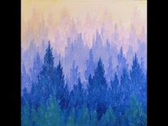 How to Paint a Misty Mountain Forest | Easy Acrylic Painting Video Tutorial by Angela Anderson on YouTube | Learn Ombre Pine Trees | Free Art Lesson | Kids, Family and Church Paint Party Idea | Beginner Acrylic Painting Instruction