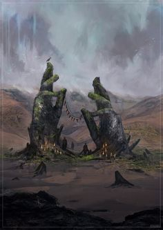 r/ImaginaryMindscapes - Old Monument to a Dead Deity by Czepeku (me) - Fantasy art - Landscape High Fantasy, Fantasy World, Fantasy Concept Art, Fantasy Artwork, Fantasy Paintings, Dungeons And Dragons, Minecraft Banner Designs, Rpg Map, Fantasy Art Landscapes