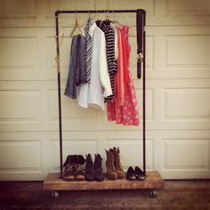 industrial Rustic Garment Rack with Steel Pipe and Recycled Reclaimed barn wood-Triple 7 Recycled-clothes, shoes, caster, rolling rack. via Etsy.