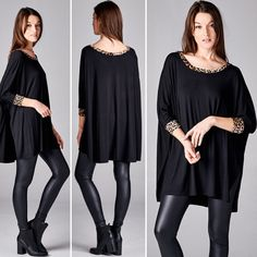 Oversized boxy fit, three-quarter length sleeves, round neck tunic top. Contrast neck band and arm band. High side slits. The self fabric of this tunic top is heavyweight knit jersey that is soft, drapes well and stretches very well. The contrast fabric of this tunic top is heavyweight, leopard print knit jersey that is soft and stretches very well.   Shop this product here: http://spreesy.com/justlexboutique/695   Shop all of our products at http://spreesy.com/justlexboutique      Pinterest…