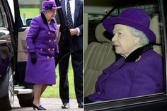 Wearing purple, the Queen did not pause to greet crowds of well-wishers who had gathered outside the church as a cold wind whipped across the estate