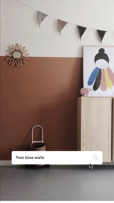 Love adding interest to a room simply by painting it two tone. Effective and affordable. Pixie art print by Pax & Hart, Nursery Art, Nursery Decor, Two Tone Walls, Multi Picture, Baby Co, Kidsroom, Art For Kids, Pixie, Modern Art