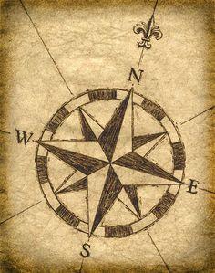 Compass Rose Artwork, Old Maps, Treasure Maps, Compass, Sailing, Parchement Paper, Sepia Prints, Vintage Nautical Design, Nautical Art Print: