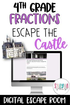 Get your students excited about math with this digital escape room- Escape the Castle! This digital game is for 4th grade, and covers adding and subtracting fractions with like denominators (including mixed numbers), and comparing fractions with unlike denominators. Digital escape rooms are a fun and engaging way for students to review concepts previously learned, and are low prep for the teacher! Thats a win-win! ;) Click the image to have your students complete this digital escape!