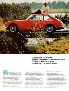 MGB GT ad. Is that car tootsie wearing a turtle neck? My how times have changed