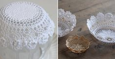 Use fabric stiffener to turn a doily into a rustic bowl! Fabric Stiffener, Rustic Bowls, Lace Doilies, Candle Holders, Diy Crafts, Candles, Crafty, How To Make, Pattern
