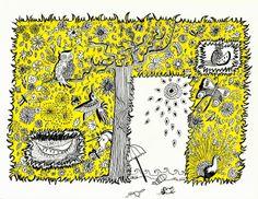 """1000 lieux: """"Eloge de la Nature... une institution"""", inspiré de Jean Lurçat """"l'été"""" hibou, chouette, paon, plage, fleurs, illustration, dessin , jaune, colibri, sieste, hamac, été ©1000 lieux - Paule Hautefort"""