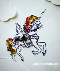 "stampin unicorn Butterfly wings stamp stempel set  "" carousel birthday "" Einhorn  Schmetterling s flügel"