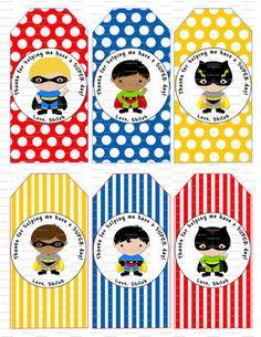 Superhero Super Hero Birthday Party Favor Tags- Personalized - Printable - Digital