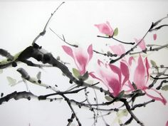 It is a magnolia tree, painted with Sumi - ink and Gansai (Japanese watercolor) on the rice paper. size (inch): 19x25 inch size (cm): 50x 65 cm