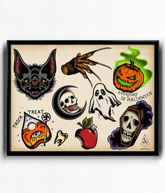 """Everyday is halloween flash sheet  A collectioon of scary and spooky drawings to remind you that everyday can be Halloween.  Printed on archival, acid-free matte paper. Size: 12"""" x 16""""  Comes rolled in newspaper and shipped in a tube"""