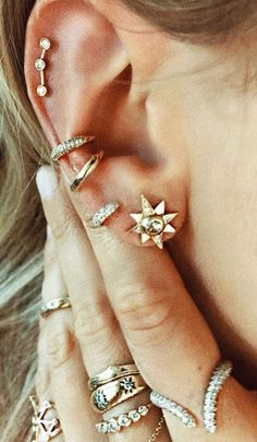 Elegant Gold Ear Piercing Ideas for Women at MyBodiArt.com - Gold Conch Pinna Crystal Hoop Ring Earring Triple Constellation Star Cartilage Helix Auricle Jewelry