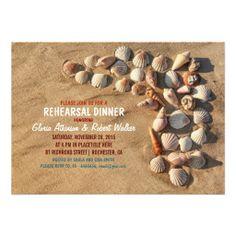 cute colorful seashells beach rehearsal dinner invitations