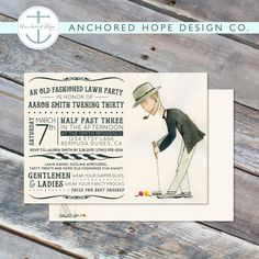 Lawn Party Croquet Birthday Invitation- Old Fashioned White Attire Croquet Jenga- Digital Printable File – Cardstock - Lawn Ideen Croquet Party, Lawn Party, Jenga, Digital Invitations, Birthday Invitations, Christian High School, Open House Invitation, Graduation Open Houses, Multi Photo