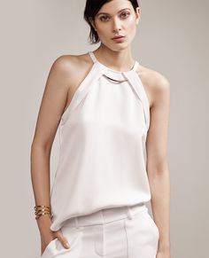 Keep the rest of your jewelry minimal when wearing our Necklace Halter. #anntaylor #white #effortless