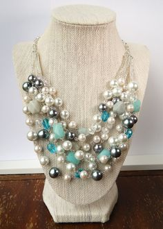 Stella & Dot Inspired Oslo Necklace // Layered Pearl and Semi-Precious Stone Silver Statement Necklace