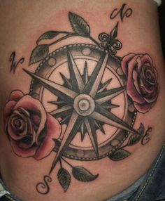 40 Awesome Compass Tattoo Designs | Not 100% sure I feel about the flowers but I love the compass